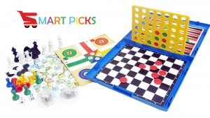 Smart Picks 2 -4 Players 6 in 1 Games (Ludo, Snakes & Ladders, Chess, Checkers, Backgammon and Line-up4)