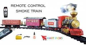Smart Picks Realistic Remote Control Smoke Train Set with Smoke, Sounds & Led Lights (Track Size 148cm X 86cm) Rechargeable Battery for Train Included