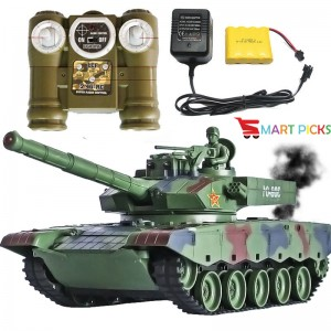 Smart Picks 6 CH Remote Control Military Battle Tank with Smoke & Shaking Function_ Scale 1:24 ( Rechargeable Battery for Tank & Charger Included) (China Type 99)