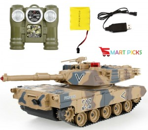 Smart Picks 6 CH Remote Control Military Battle Tank with Smoke & Shaking Function_ Scale 1:24 ( Rechargeable Battery for Tank & Charger Included) (USA M1A2)
