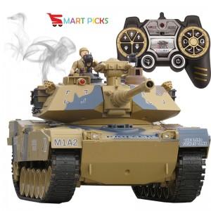 Smart Picks Remote Control Shooting Game Military Battle Tank with Smoke & Shaking Function Variety of War Mode_ Scale 1:18 ( Rechargeable Battery for Tank & Charger Included) (USA M1A2)