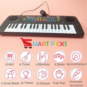 Smart Picks 37 Keys Piano (USB Included) and Microphone